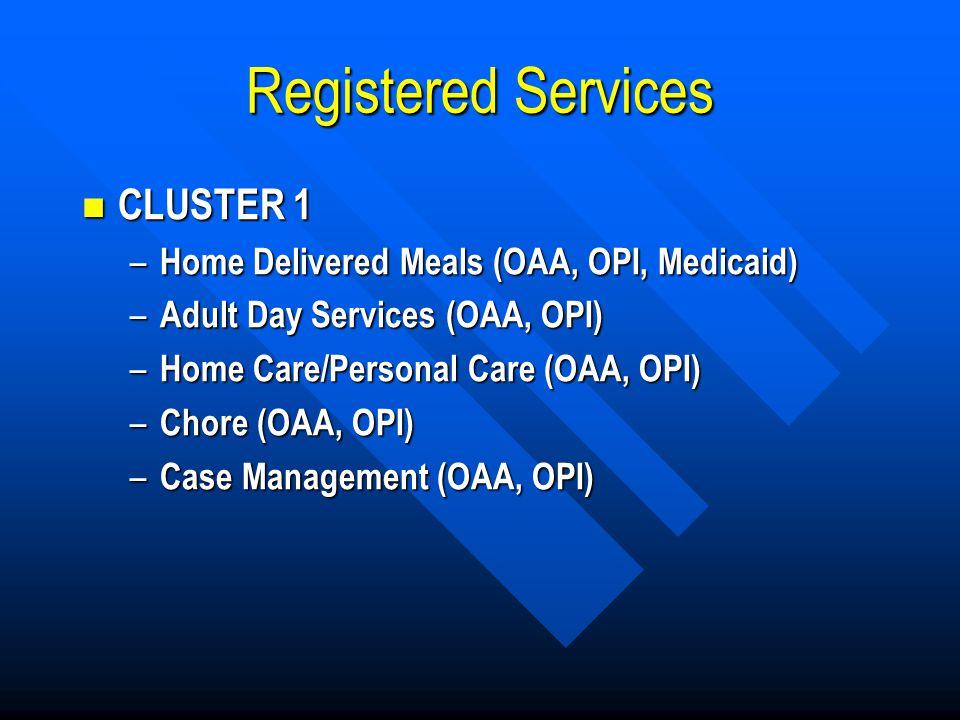 Registered Services CLUSTER 1 CLUSTER 1 – Home Delivered Meals (OAA, OPI, Medicaid) – Adult Day Services (OAA, OPI) – Home Care/Personal Care (OAA, OPI) – Chore (OAA, OPI) – Case Management (OAA, OPI)