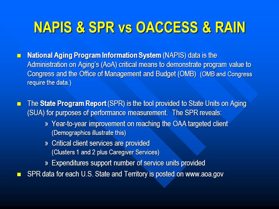 RAIN Web Application AAA NAPIS data entry OACCESS RAIN web application Nightly upload to RAIN Upload to AoA web application Congress and Office of Management & Budget (OMB) review.