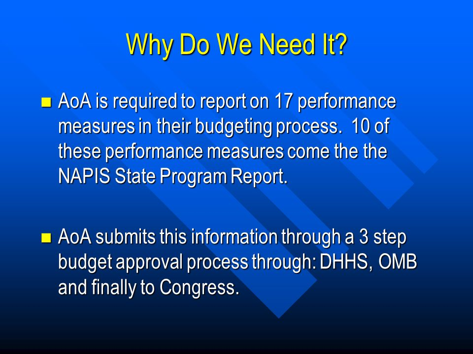 Why Do We Need It. AoA is required to report on 17 performance measures in their budgeting process.