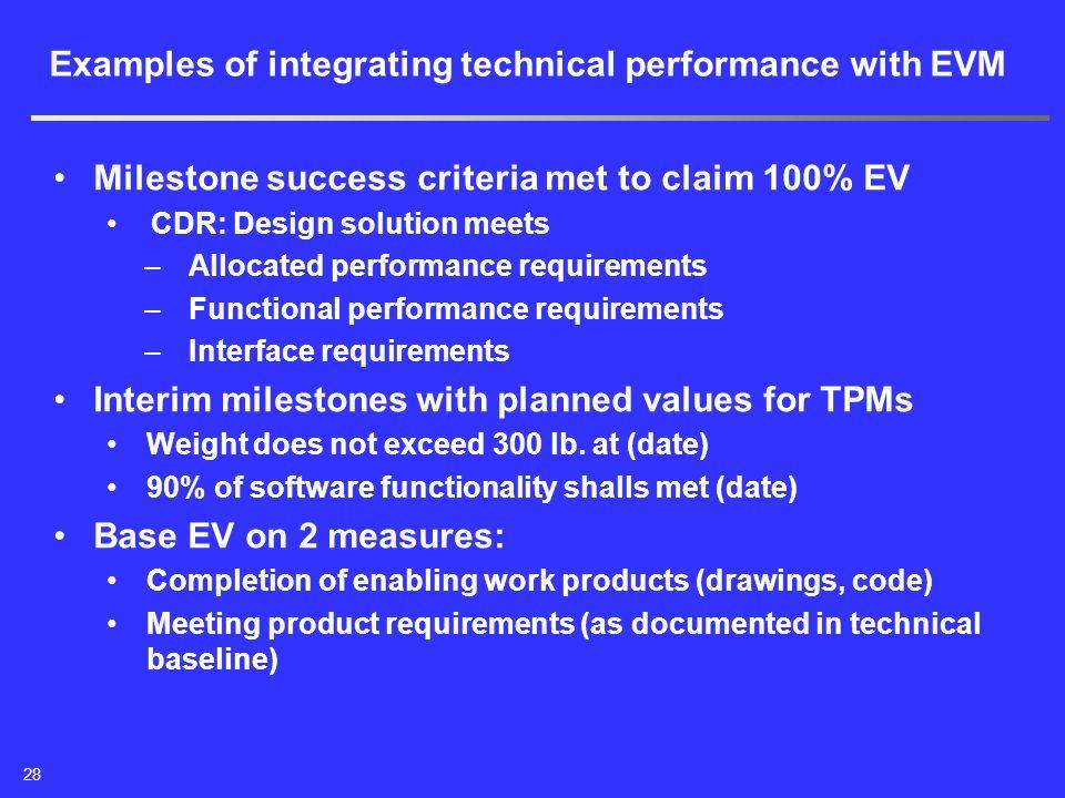 Milestone success criteria met to claim 100% EV CDR: Design solution meets –Allocated performance requirements –Functional performance requirements –I