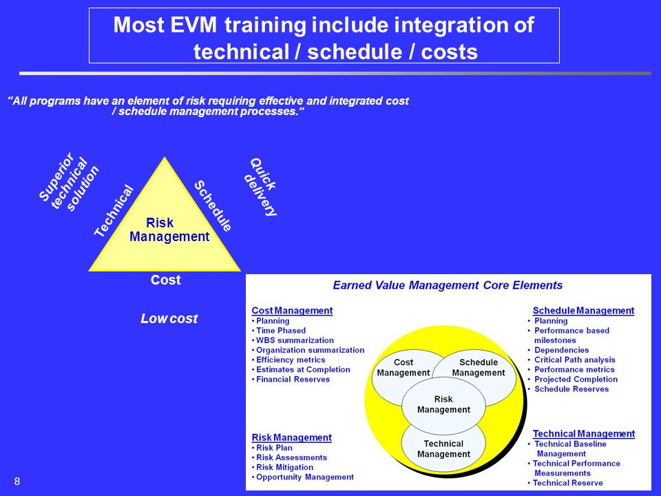 Most EVM training include integration of technical / schedule / costs All programs have an element of risk requiring effective and integrated cost / schedule management processes. Technical Schedule Cost Superior technical solution Quick delivery Low cost Risk Management 8