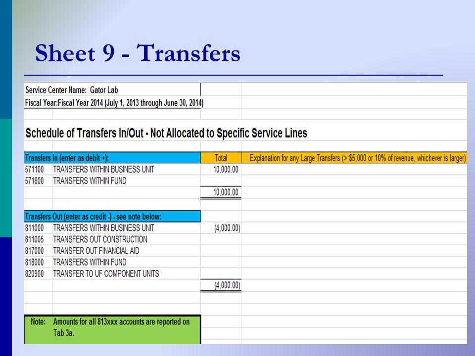 Sheet 9 - Transfers