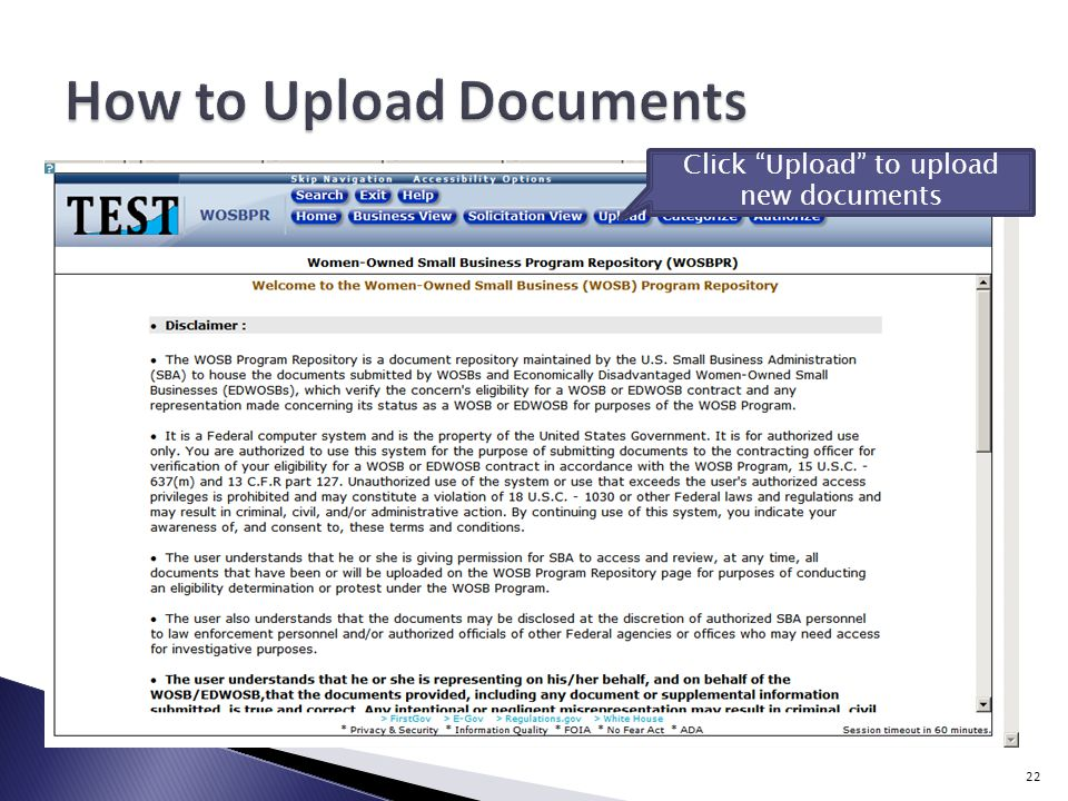 Click Upload to upload new documents 22