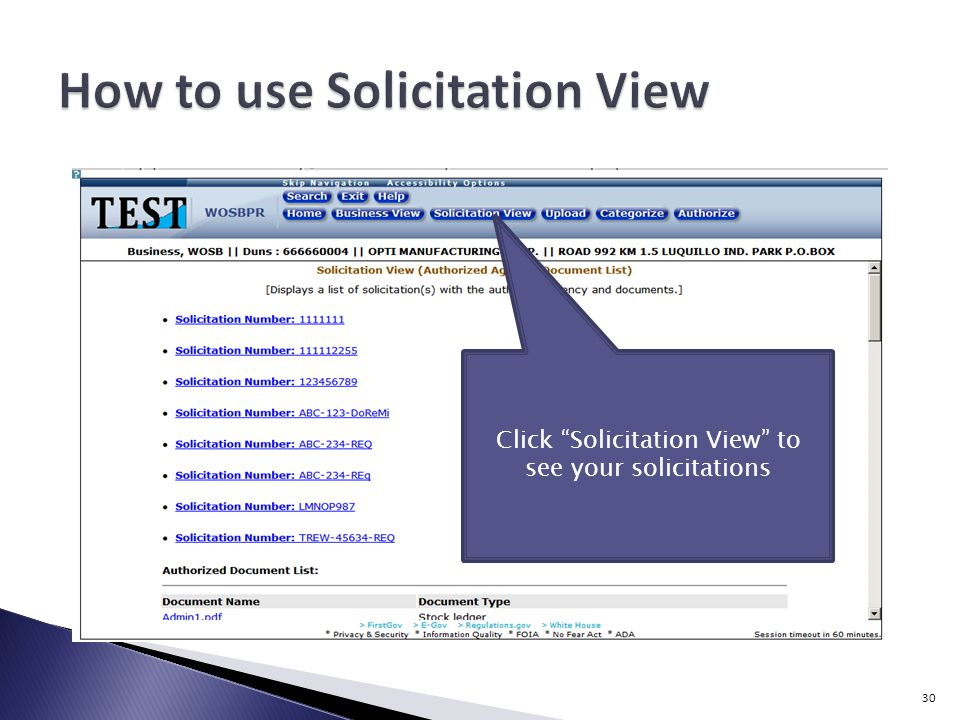 Click Solicitation View to see your solicitations 30