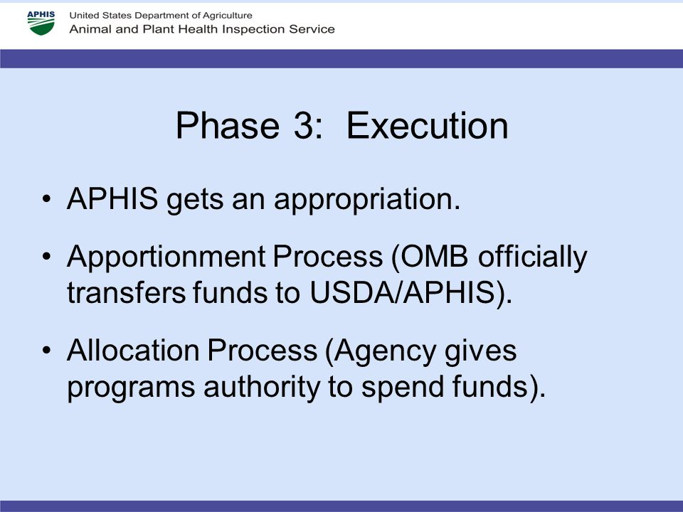Phase 3: Execution APHIS gets an appropriation. Apportionment Process (OMB officially transfers funds to USDA/APHIS). Allocation Process (Agency gives
