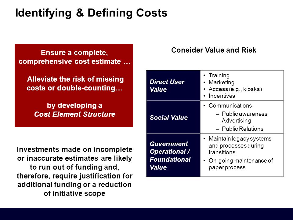 Consider Value and Risk Identifying & Defining Costs Direct User Value Training Marketing Access (e.g., kiosks) Incentives Social Value Communications –Public awareness Advertising –Public Relations Government Operational / Foundational Value Maintain legacy systems and processes during transitions On-going maintenance of paper process Ensure a complete, comprehensive cost estimate … Alleviate the risk of missing costs or double-counting… by developing a Cost Element Structure Investments made on incomplete or inaccurate estimates are likely to run out of funding and, therefore, require justification for additional funding or a reduction of initiative scope