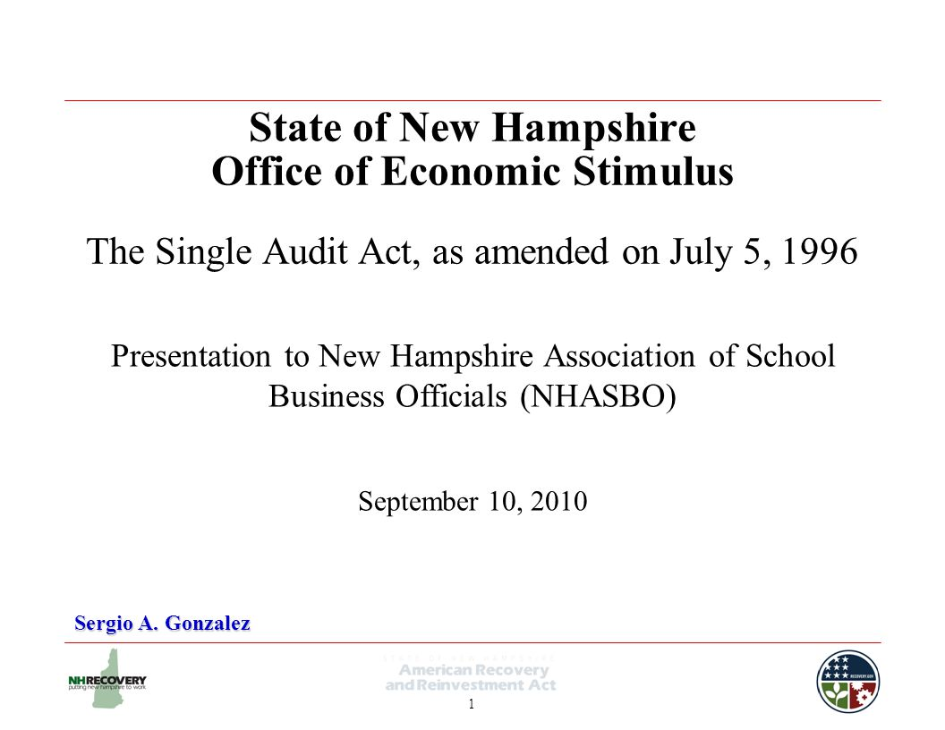 1 State of New Hampshire Office of Economic Stimulus The Single Audit Act, as amended on July 5, 1996 Sergio A.