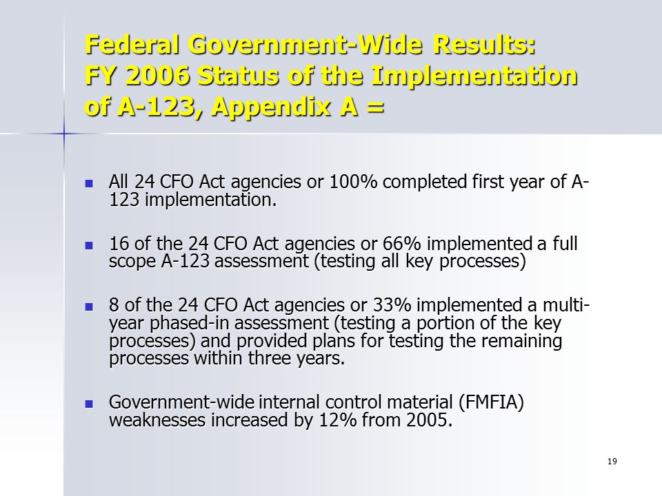19 Federal Government-Wide Results: FY 2006 Status of the Implementation of A-123, Appendix A = All 24 CFO Act agencies or 100% completed first year o
