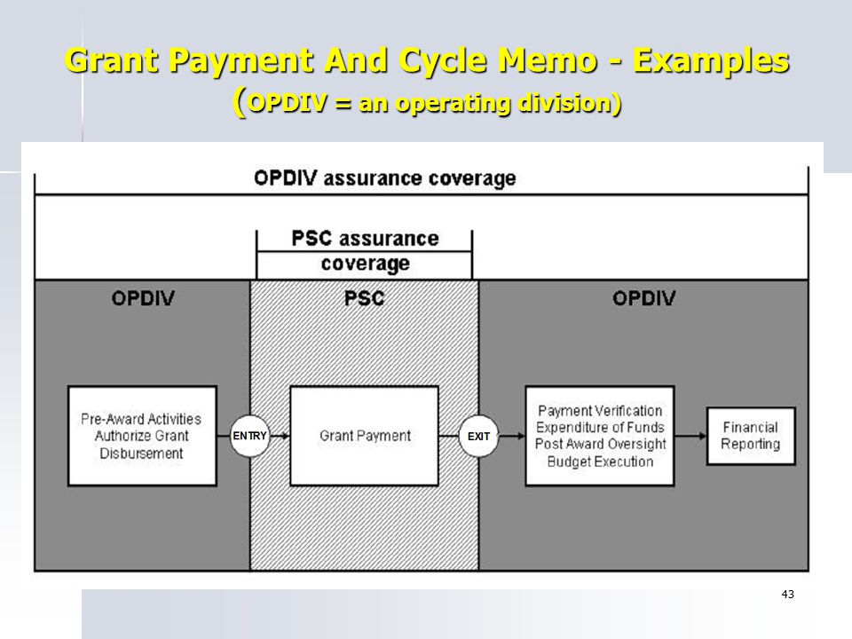 43 Grant Payment And Cycle Memo - Examples ( OPDIV = an operating division)