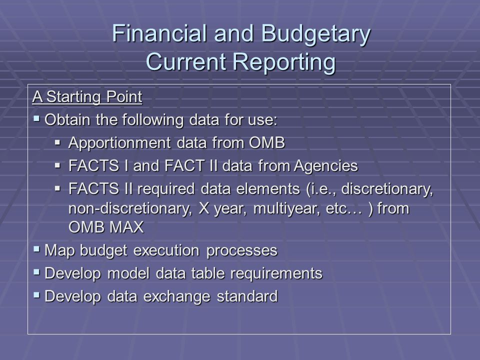 Financial and Budgetary Current Reporting A Starting Point  Obtain the following data for use:  Apportionment data from OMB  FACTS I and FACT II data from Agencies  FACTS II required data elements (i.e., discretionary, non-discretionary, X year, multiyear, etc… ) from OMB MAX  Map budget execution processes  Develop model data table requirements  Develop data exchange standard