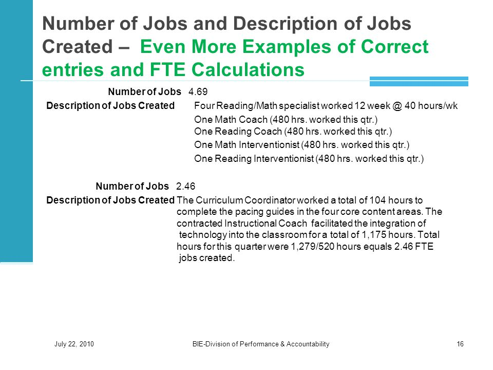 Number of Jobs and Description of Jobs Created – Even More Examples of Correct entries and FTE Calculations Number of Jobs 4.69 Description of Jobs Created Four Reading/Math specialist worked 12 week @ 40 hours/wk One Math Coach (480 hrs.