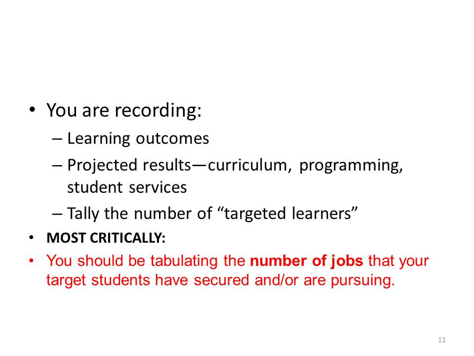 """You are recording: – Learning outcomes – Projected results—curriculum, programming, student services – Tally the number of """"targeted learners"""" MOST CR"""