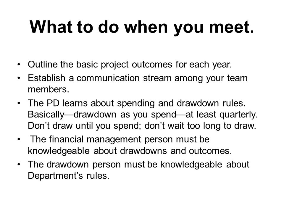 What to do when you meet. Outline the basic project outcomes for each year.