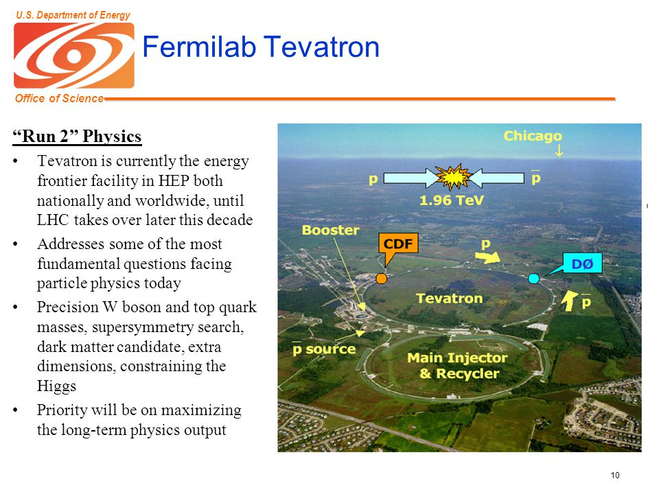 """Office of Science U.S. Department of Energy 10 Fermilab Tevatron """"Run 2"""" Physics Tevatron is currently the energy frontier facility in HEP both nation"""