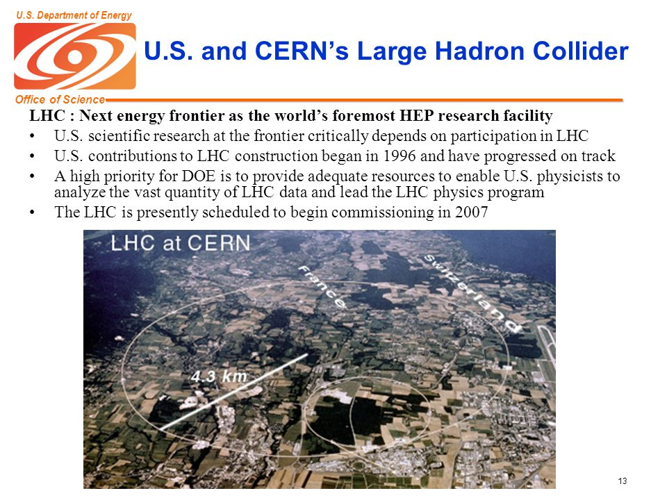 Office of Science U.S. Department of Energy 13 U.S. and CERN's Large Hadron Collider LHC : Next energy frontier as the world's foremost HEP research f