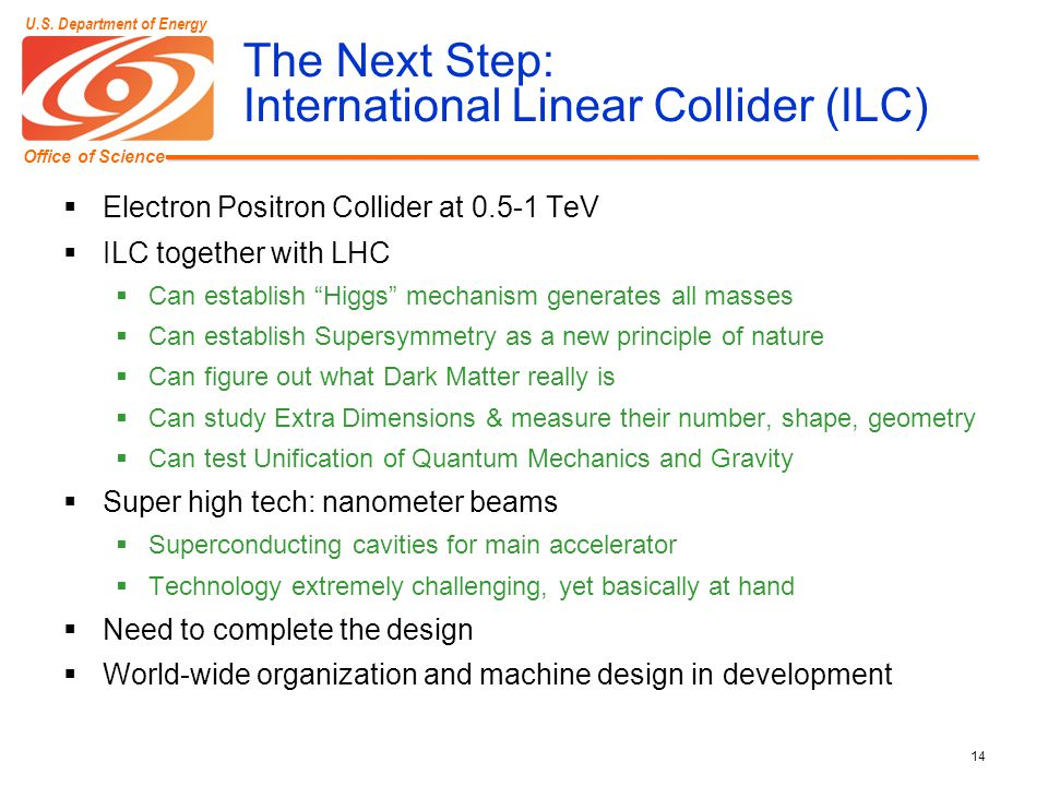 Office of Science U.S. Department of Energy 14 The Next Step: International Linear Collider (ILC)  Electron Positron Collider at 0.5-1 TeV  ILC toge