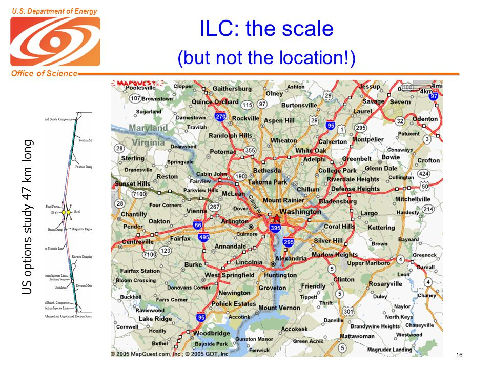 Office of Science U.S. Department of Energy 16 ILC: the scale (but not the location!) US options study 47 km long US options study 47 km long