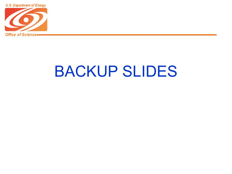 Office of Science U.S. Department of Energy BACKUP SLIDES
