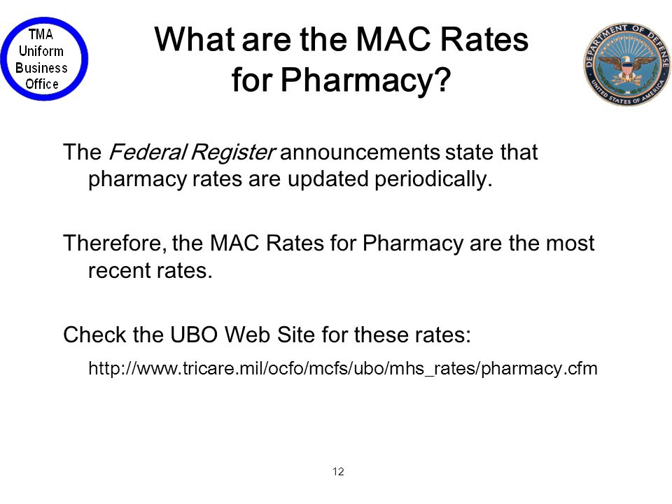 12 What are the MAC Rates for Pharmacy.