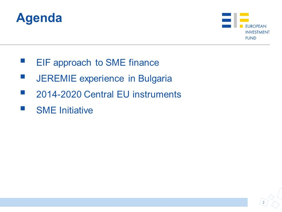 The SME initiative EU structural funds + EU budget + EIF & EIB Key objectives Better access to finance for SMEs through capital relief, loss protection and liquidity Increased multiplier on public budget through participation of EIF/EIB and private sector Reduction of financial markets fragmentation Optional programme, at the discretion of each Member State Eligibility criteria: Most sectors eligible for support – including agriculture business Special attention to innovative small business and finance of R&D in EIF and EIB participate Own funds (for guarantees and direct investments) Expertise in deal structuring, execution, implementation and monitoring throughout EU Participation of private investors: important medium-term objective (Option 2) 13