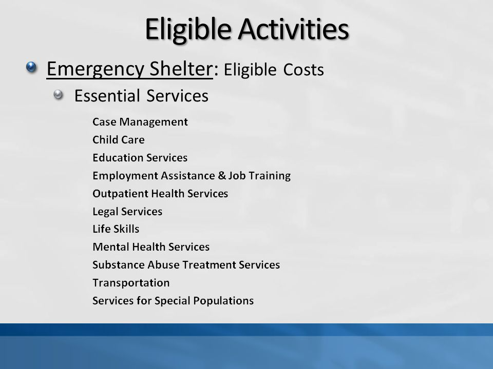 Eligible Activities Emergency Shelter: Eligible Costs Essential Services
