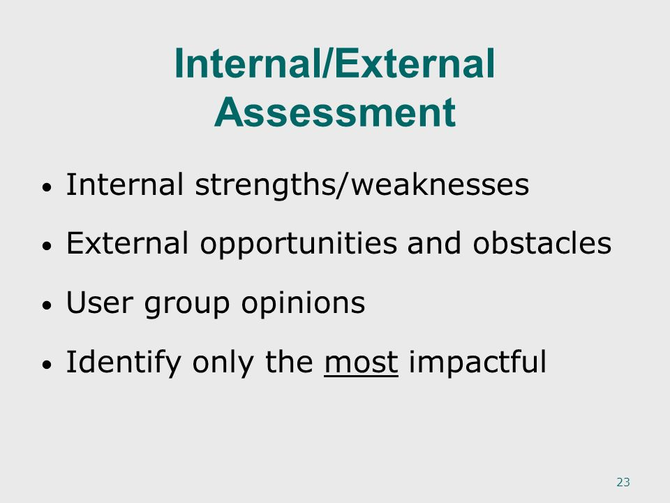 23 Internal strengths/weaknesses External opportunities and obstacles User group opinions Identify only the most impactful Internal/External Assessment