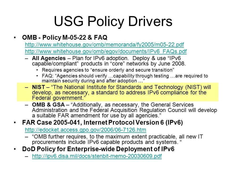 DRAFT USGIPv6-V1.0 http://www.antd.nist.gov/usgv6-v1-comments.html Status / Plans Circulated for USG IPv6WG Review – 2006-12-22 USG comments resolved and circulated for public comment – 2007-2-1.