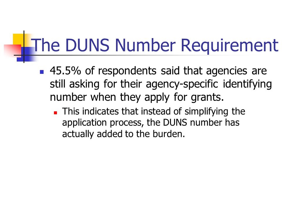 The DUNS Number Requirement 45.5% of respondents said that agencies are still asking for their agency-specific identifying number when they apply for grants.