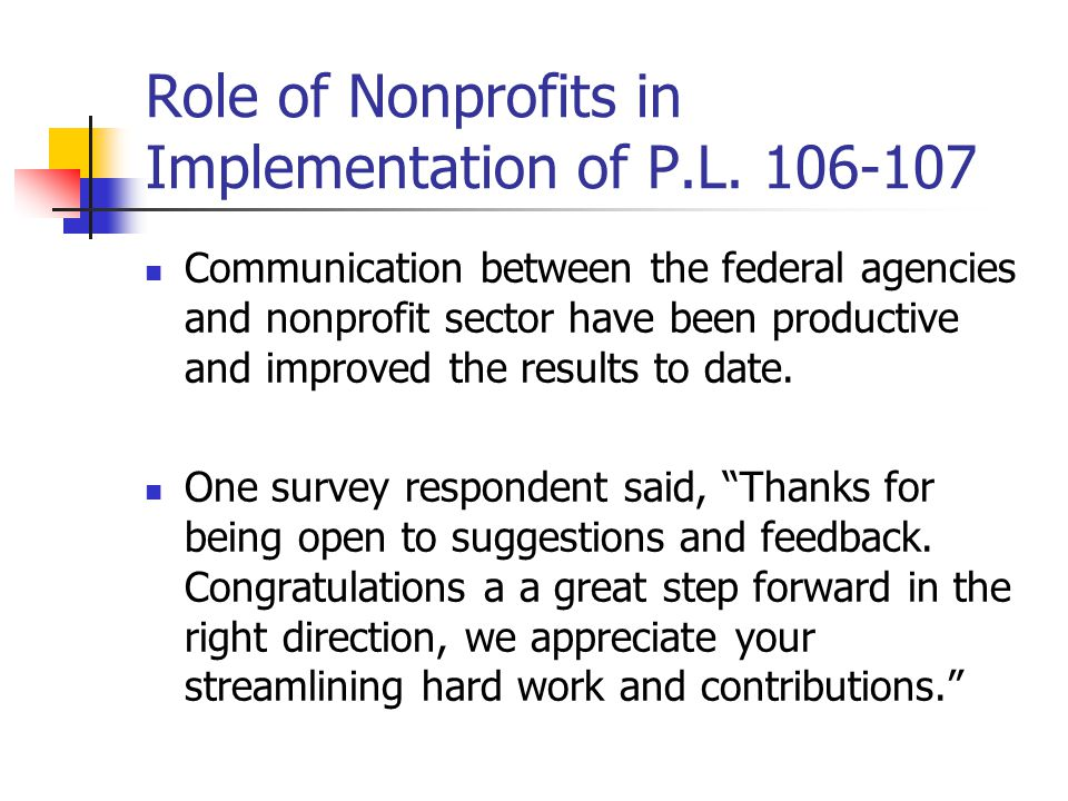Role of Nonprofits in Implementation of P.L.