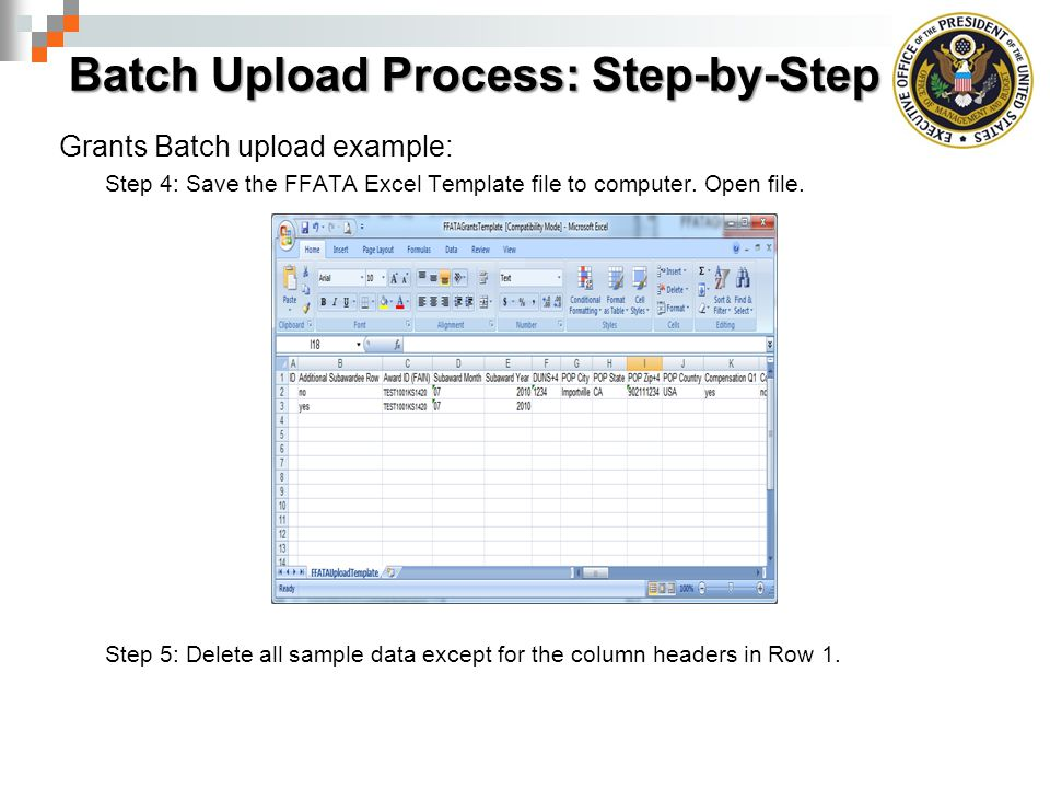 Batch Upload Process: Step-by-Step Grants Batch upload example: Step 4: Save the FFATA Excel Template file to computer.