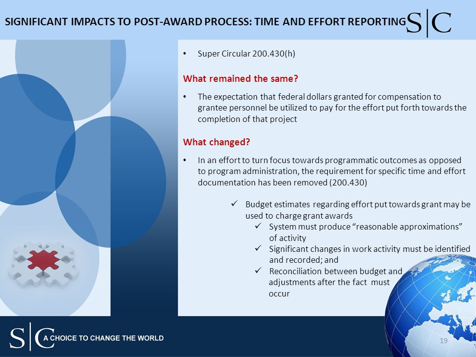 SIGNIFICANT IMPACTS TO POST-AWARD PROCESS: TIME AND EFFORT REPORTING 19 Super Circular 200.430(h) What remained the same.
