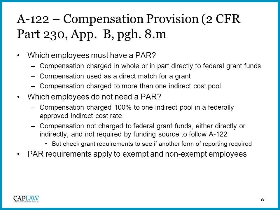 18 A-122 – Compensation Provision (2 CFR Part 230, App.