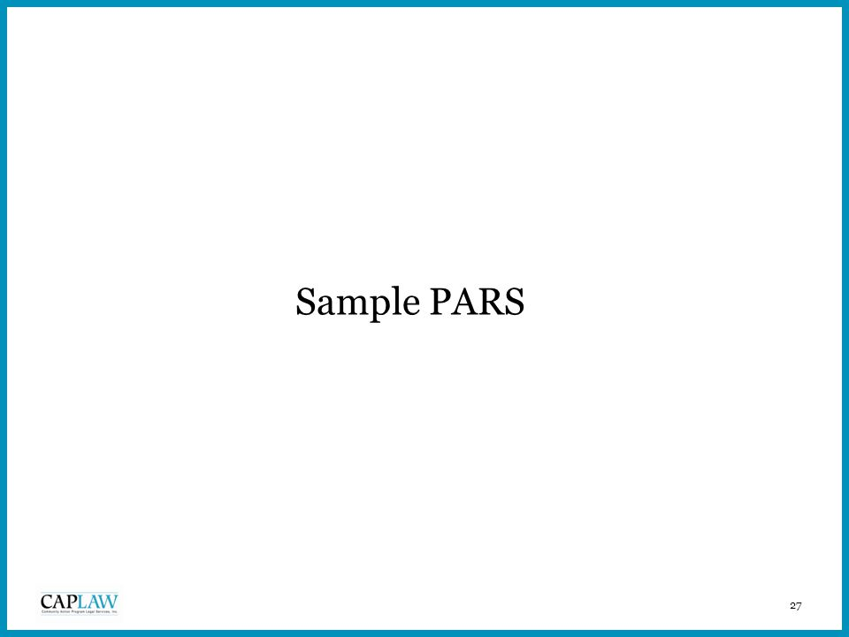 27 Sample PARS