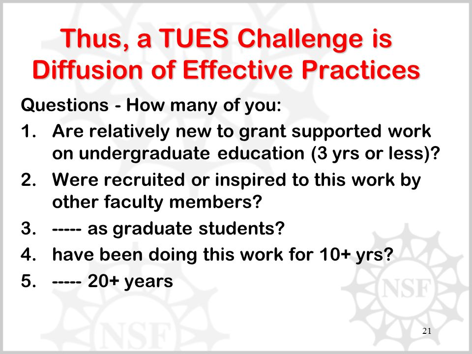 21 Thus, a TUES Challenge is Diffusion of Effective Practices Questions - How many of you: 1.Are relatively new to grant supported work on undergradua