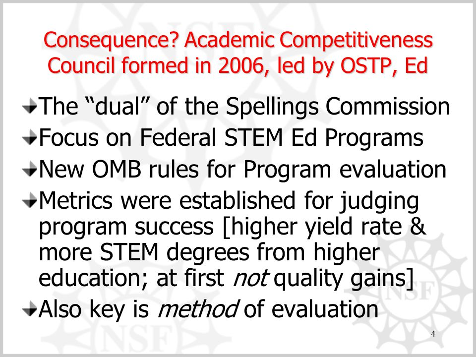 "4 Consequence? Academic Competitiveness Council formed in 2006, led by OSTP, Ed The ""dual"" of the Spellings Commission Focus on Federal STEM Ed Progra"