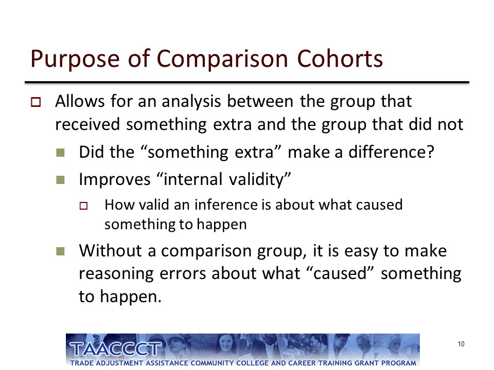 """Purpose of Comparison Cohorts  Allows for an analysis between the group that received something extra and the group that did not Did the """"something e"""