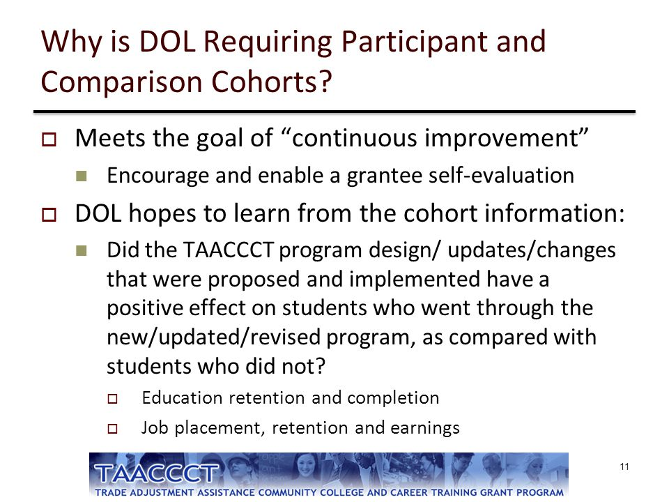 """Why is DOL Requiring Participant and Comparison Cohorts?  Meets the goal of """"continuous improvement"""" Encourage and enable a grantee self-evaluation """