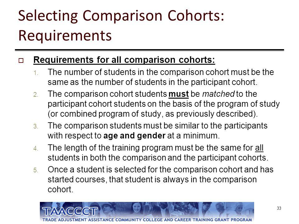 Selecting Comparison Cohorts: Requirements  Requirements for all comparison cohorts: 1. The number of students in the comparison cohort must be the s