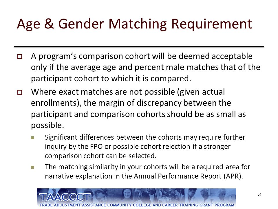 Age & Gender Matching Requirement  A program's comparison cohort will be deemed acceptable only if the average age and percent male matches that of t
