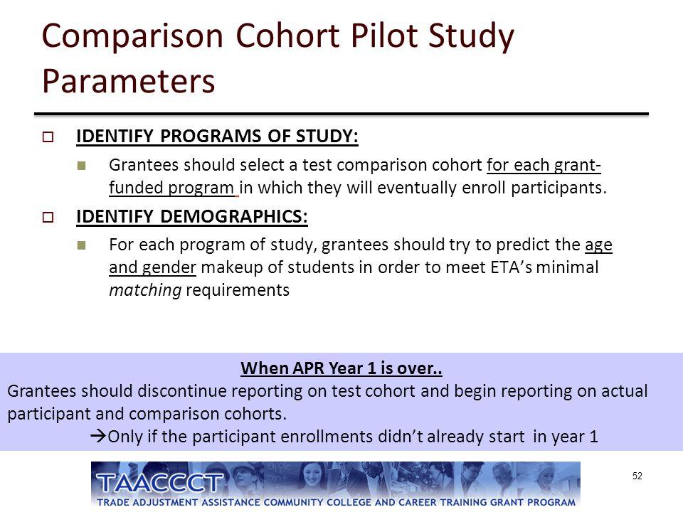 Comparison Cohort Pilot Study Parameters  IDENTIFY PROGRAMS OF STUDY: Grantees should select a test comparison cohort for each grant- funded program