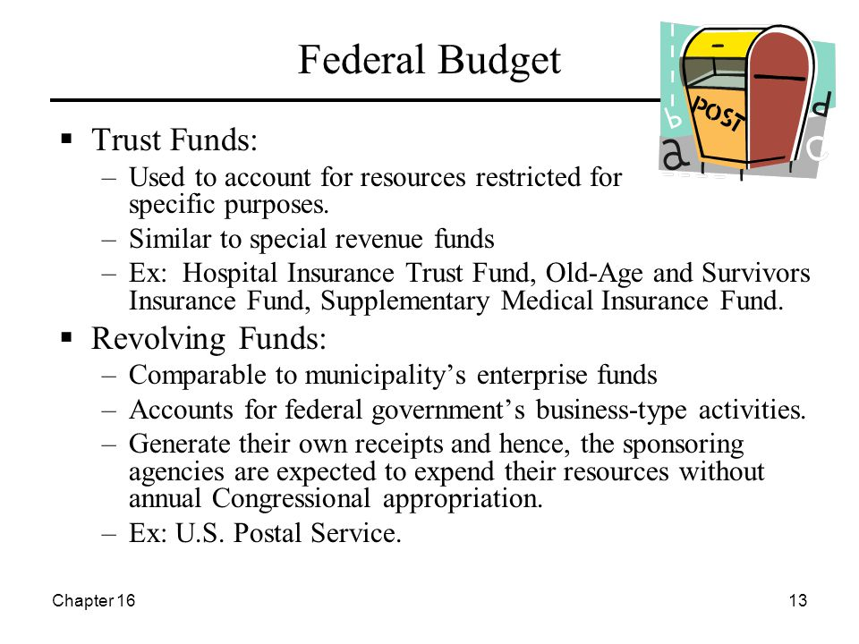 Chapter 1613 Federal Budget  Trust Funds: –Used to account for resources restricted for specific purposes. –Similar to special revenue funds –Ex: Hos