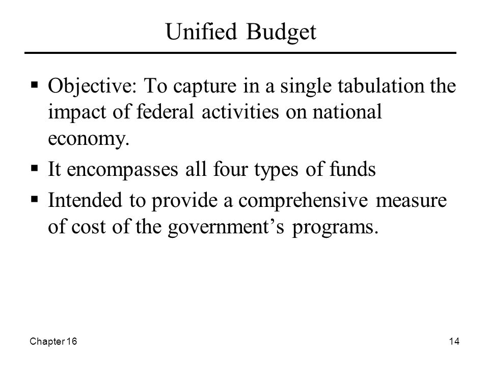 Chapter 1614 Unified Budget  Objective: To capture in a single tabulation the impact of federal activities on national economy.  It encompasses all