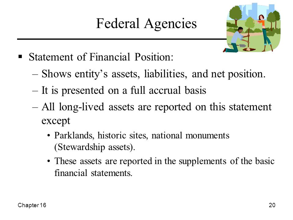 Chapter 1620 Federal Agencies  Statement of Financial Position: –Shows entity's assets, liabilities, and net position.