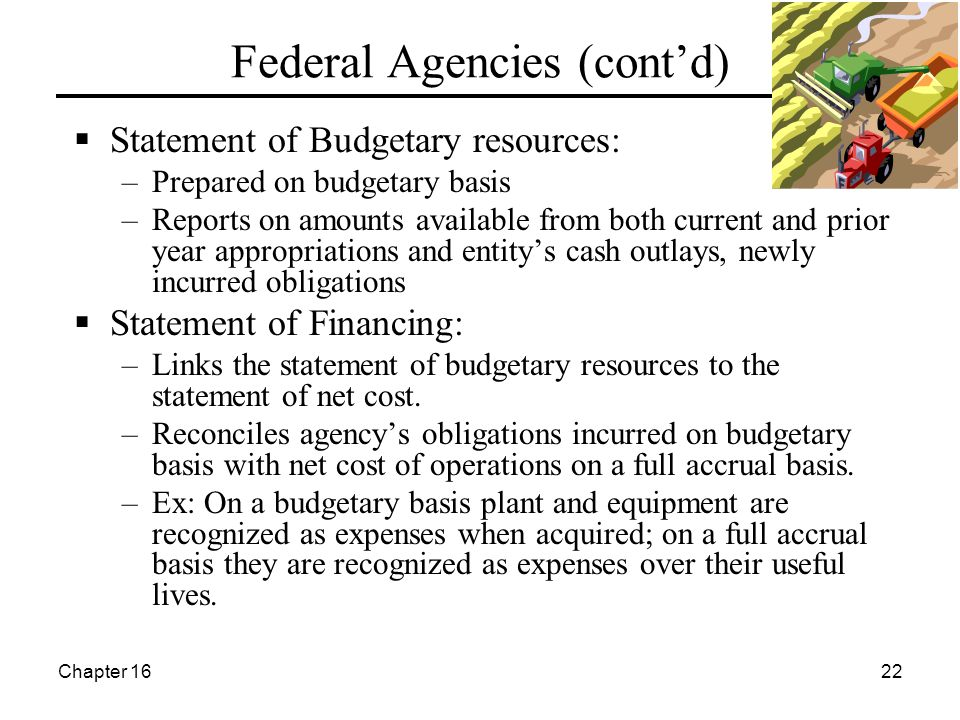 Chapter 1622 Federal Agencies (cont'd)  Statement of Budgetary resources: –Prepared on budgetary basis –Reports on amounts available from both current and prior year appropriations and entity's cash outlays, newly incurred obligations  Statement of Financing: –Links the statement of budgetary resources to the statement of net cost.