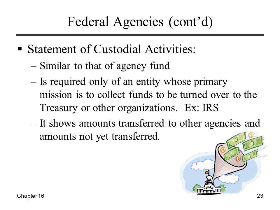 Chapter 1623 Federal Agencies (cont'd)  Statement of Custodial Activities: –Similar to that of agency fund –Is required only of an entity whose prima