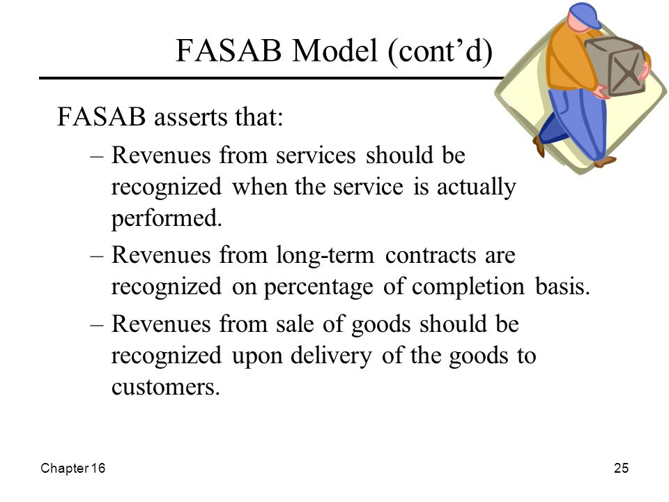 Chapter 1625 FASAB Model (cont'd) FASAB asserts that: –Revenues from services should be recognized when the service is actually performed. –Revenues f