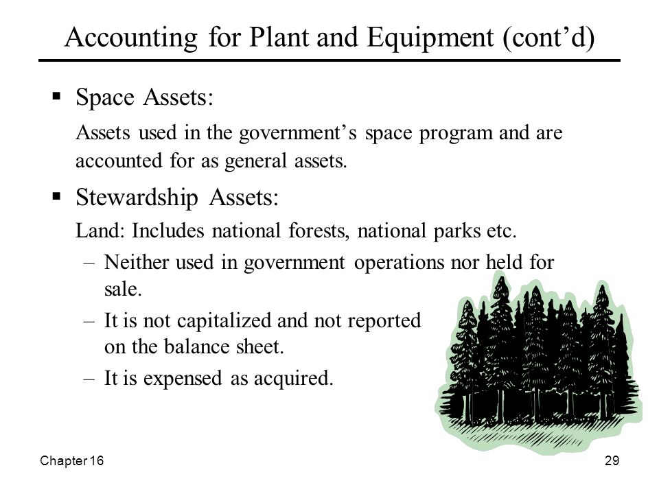 Chapter 1629 Accounting for Plant and Equipment (cont'd)  Space Assets: Assets used in the government's space program and are accounted for as general assets.