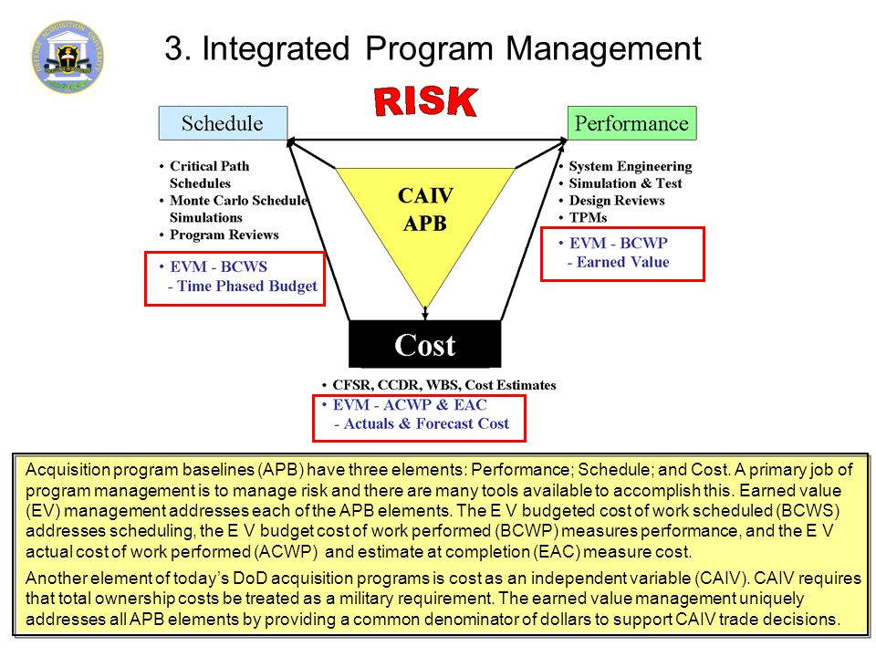 3. Integrated Program Management Acquisition program baselines (APB) have three elements: Performance; Schedule; and Cost. A primary job of program ma