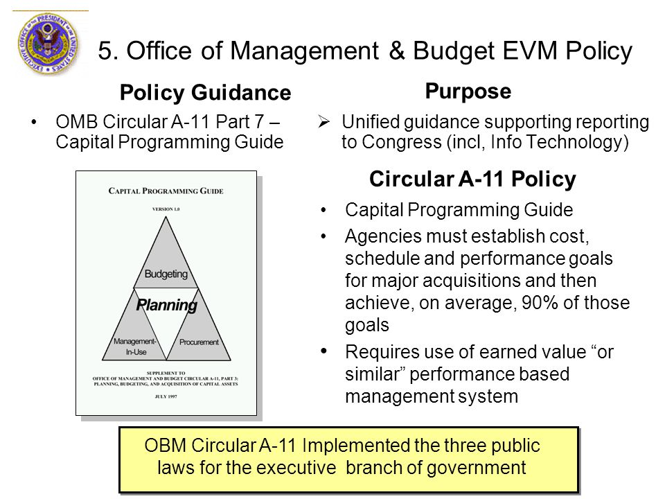 OMB Circular A-11 Part 7 – Capital Programming Guide  Unified guidance supporting reporting to Congress (incl, Info Technology) 5. Office of Manageme