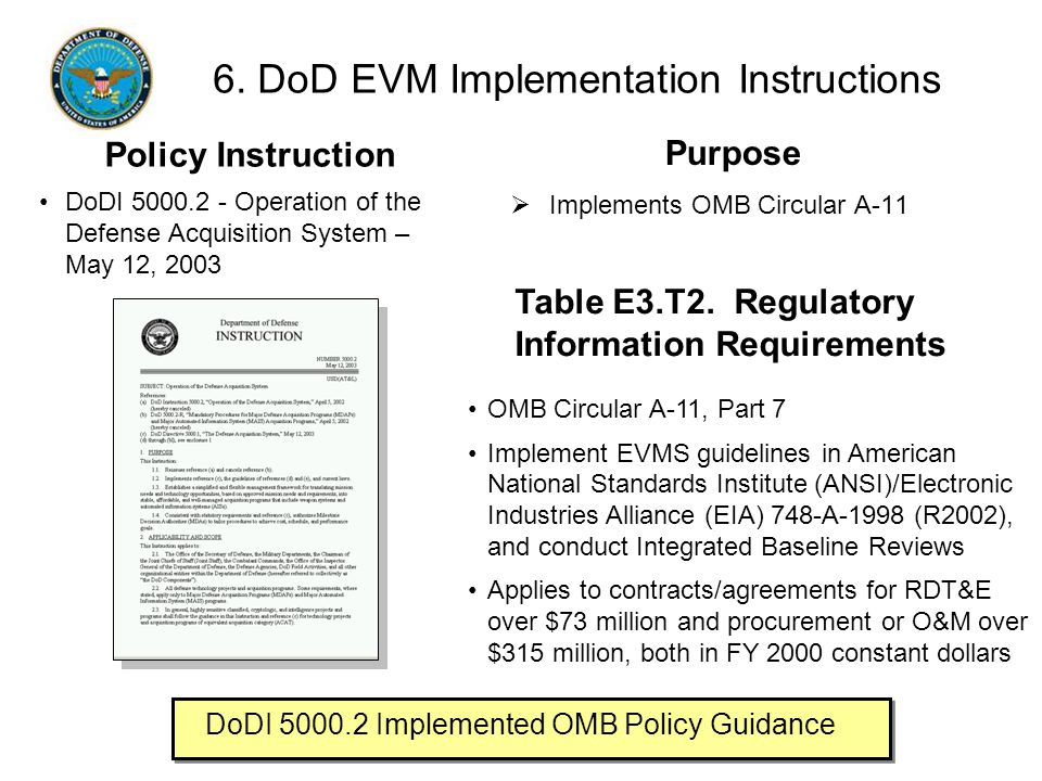 6. DoD EVM Implementation Instructions  Implements OMB Circular A-11 Purpose OMB Circular A-11, Part 7 Implement EVMS guidelines in American National